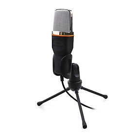 Microphone with Stand 3.5mm Jack Microphone for Computer Plug & Play Handheld Desk Microphone for Online Teaching