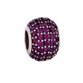 Hình đại diện sản phẩm Hạt Charm DIY PNJSilver hình dẹt tròn đính hạt màu tím 12804.000-BO