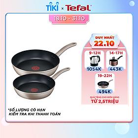 Bộ 2 Chảo chiên Tefal Sensations 24-28 -  Cảnh báo nhiệt - Dùng cho mọi loại bếp - Hàng chính hãng