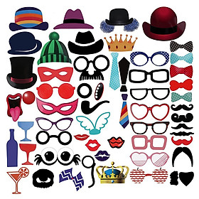 58 Pcs/Set Photo Booth Props, Paper Photobooth Party Wedding Decoration, Moustache Lips Glasses On A Stick Party Supplies