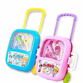 Bộ đồ chơi phụ kiện cho búp bê chủ đề bác sỹ khám bệnh 2 tư thế trong 1: vali kéo và vali xách sinh động, gọn gàng ( màu ngẫu nhiên)