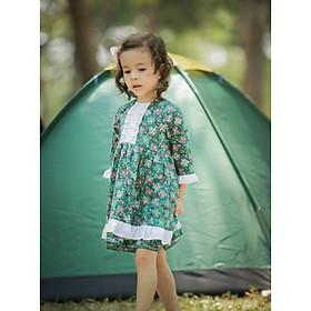 Váy Cinderella cho bé gái Haki - Hoa xanh
