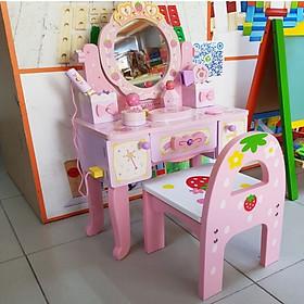 Đồ Chơi Gỗ - Bộ đồ chơi bàn trang điểm dành cho bé gái điệu đà, nữ tính