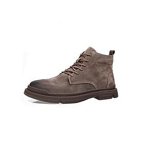 Giày boot (bốt) da bò, giày đốc cổ cao big size cỡ lớn cho nam chân to - GT087