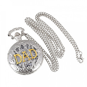 Retro White Dial Round Pendant Mens Quartz Pocket Watch Chain Father Dad Gift
