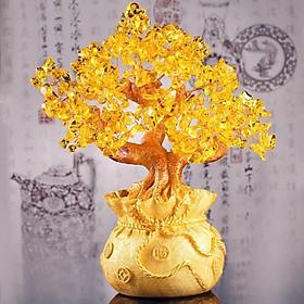 Cây Tài lộc đá Thạch Anh Vàng 21.5 cm