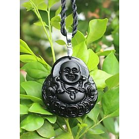 Hình đại diện sản phẩm Mặt dây chuyền Phật Di Lặc cho NữTuổi Tỵ Mệnh Mộc đá Núi Lửa Obsidian nhỏ AKO1