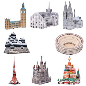 Mô hình giấy cắt dán thủ công Kiến trúc Mini Combo 0005