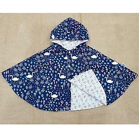 Áo khoác chống nắng cho bé gái 4 mùa kiểu áo cánh dơi poncho  mẫu thiên nga nền tím than đáng yêu cho bé