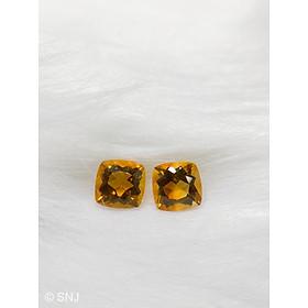Cặp viên đá citrine thạch anh vàng 4.4 carat vuông làm nhẫn mặt dây rất đẹp