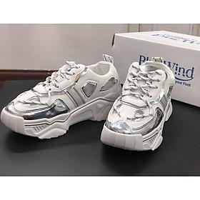 Giày sneaker nữ Bluewind 68711 mũi, gót giày pha màu kẻ vạch năng động