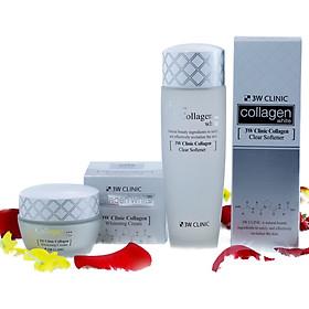 Combo Bộ 2 Sản Phẩm Dưỡng Trắng Da Tinh Chất Collagen 3W Clinic Hàn Quốc ( Kem Dưỡng Da + Nước Hoa Hồng )