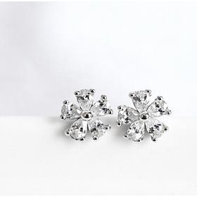 Khuyên tai  bạc đẹp - Bông tai Bạc Nữ  925 hoa đào đính đá xinh