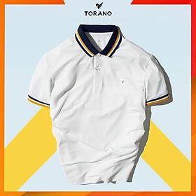 Áo thun polo nam có cổ màu trắng TORANO chất liệu coolmax, cổ và tay phối màu