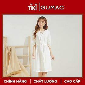 Đầm xòe nữ GUMAC thiết kế cổ V khoen trang sức làm từ chất liệu bền vững thân thiện môi trường DA679
