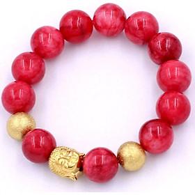 Vòng tay đá hồng ngọc 14 ly VHNNLVHB14 - Chuỗi Như lai inox vàng kèm 2 bi vàng - Chuỗi đá phong thủy, đem lại bình an, may mắn, thuận lợi - Chuỗi tay Size lớn