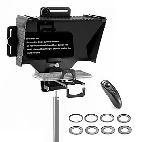 Universal Teleprompter Portable Prompter with BT Remote Control Lens Adapter Ring Compatible with Smart Phone Tablet