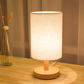 Đèn ngủ để bàn chóa vải đế gỗ cao cấp ROBIN kèm bóng LED