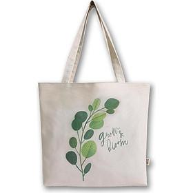 Túi vải may Covi - túi tote đeo vai in hình Grow cỏ xanh lá vải canvas