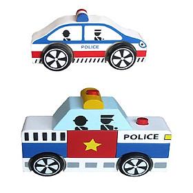 Bộ 2 xe Mô hình và Lắp ráp mô hình Xe Cảnh Sát - Hàng Chính Hãng Winwintoys