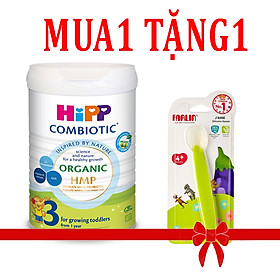 Sữa bột Hipp số 3 Organic Combiotic HMP 800gr Mẫu Mới tách tem tặng thìa ăn dặm Silicone Farlin