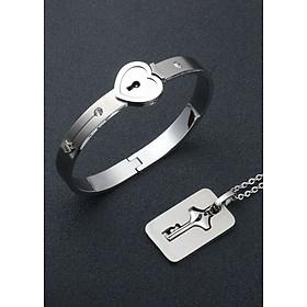 Vòng tay Ổ KHÓA NỮ - Dây chuyền CHÌA KHÓA NAM - Quà tặng tình yêu vĩnh viễn không đen