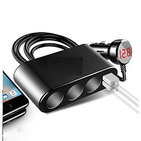 Bộ chia tẩu sạc đa năng trên ô tô tích hợp 3 tẩu cắm sạc và 2 cổng USB và đồng hồ báo điện áp M08 ( Tặng kèm miếng thép để ví 11in1 )