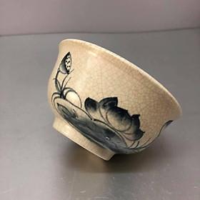 Bát cúng cơm men rạn cổ vẽ hoa sen KH12719