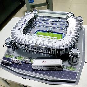Đồ chơi lắp ráp Giấy 3D Mô hình Sân Vận Động Santiago Bernabéu Real Marid Kèm đèn LED