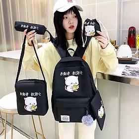 Balo nữ combo 4 món đi học thời trang Cặp-  Balo sinh viên học sinh đa năng mèo đọc sách cute ulzzang( không kèm túi rút)