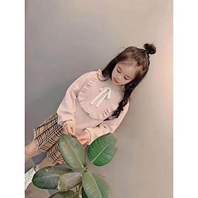 Áo len bèo nơ cổ xuất Hàn bé gái 7-15 tuổi