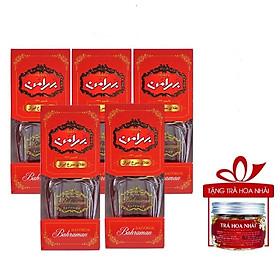 Nhụy Hoa Nghệ Tây Saffron Bahraman Combo 5 hộp 1gram/hộp Tặng hoa nhài 8gr