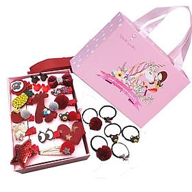 Hộp kẹp tóc cho bé gái màu đỏ, 24 chi tiết. Hộp có quai sách màu hồng. Quà tậng đáng yêu cho bé gái.