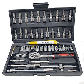 Bộ dụng cụ sửa chữa gia đình đa năng, sửa chữa xe máy, sửa chữa xe đạp Tcare 46PCS - Hàng Chính hãng