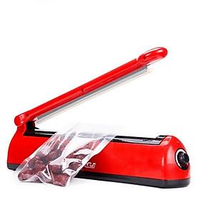 Máy hàn miệng túi 200 đỏ, dập tay, ép miệng bọc, đường hàn dài tối đa 20cm rộng 2mm, vải chịu nhiệt, dây nhiệt có thể thay thế dễ dàng, máy khỏe hoạt động được liên tục