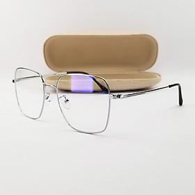 Gọng kính nam nữ màu đen, bạc mắt cận chữ nhật chất liệu kim loại SA2948. Tròng kính giả cận 0 độ chống ánh sáng xanh, chống tia UV
