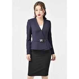 Vest vạt chồng đai eo Chelle C65B18D173-NS32 màu tím than