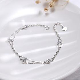 Lắc tay bạc xinh  | Vòng Tay Bạc  Nữ  925  hai dây cỏ bốn lá đính đá – Phong cách thời trang xinh đẹp, dễ thương,  đầy cá tính, mang lại nhiều may mắn