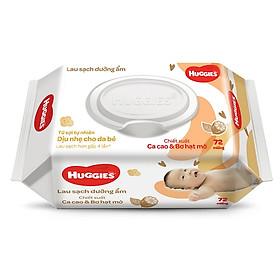 Khăn giấy ướt cho trẻ sơ sinh HUGGIES (Gói 72 tờ) - Chiết xuất Cao cao & Bơ hạt mỡ