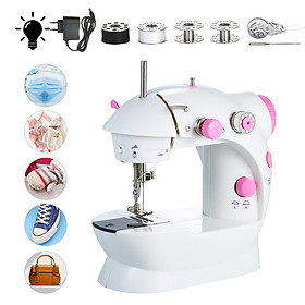 Mini Sewing Machine Adjustable 2-Speed Double Thread Portable Electric Household Multifunction Sewing Machin with Light