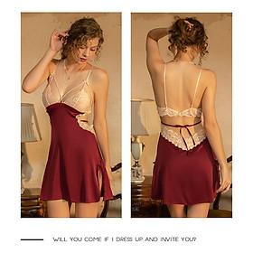 Váy ngủ lụa 2 dây phối 2 màu hở lưng quyến rũ Jolisexy