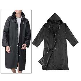 Women Men Fashion Solid Black Rain Poncho Long Sleeve Hooded Raincoat Jacket