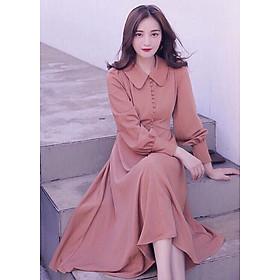Đầm cổ sen form dài nút bọc ML0023
