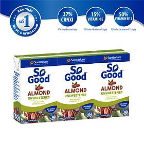 Sữa hạnh nhân không đường So Good 250ml x3, làm từ hạnh nhân Úc, calo thấp, sản xuất tại Úc