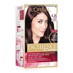 Kem Nhuộm Dưỡng Tóc Phủ Bạc L'oreal Excellence Cream 172ml - Màu 4.26 Nâu Tím Ánh Đỏ