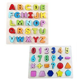 Combo bảng  tiếng Anh  in hoa và bảng 10 số cùng hình học Mykids - đồ chơi gỗ
