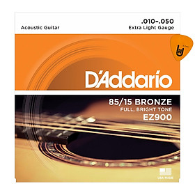 D'Addario EZ900 - Bộ Dây Đàn Guitar Acoustic Cỡ 10 (.010-.050) - Chính Hãng (85/15 Bronze Strings Ghi-ta) - Kèm Móng Gảy DreamMaker