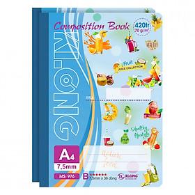 Lốc 2 Sổ May Dán Gáy KLONG A4 Kẻ Lề - MS 976 (420 trang)