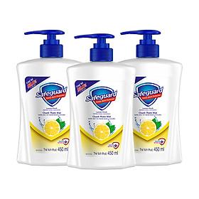 Combo 3 Nước Rửa Tay Safeguard Lemon Fresh Chanh Thơm Mát 450ml