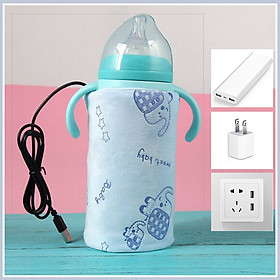 COMBO Tấm Ủ Kèm Dây Nguồn USB Giữ Nhiệt Làm Nóng Bình Sữa - Tặng 1 khẩu trang xô cho bé ( giao ngẫu nhiên )